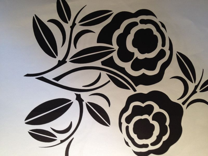 Art deco flower stencil bridged