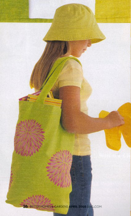 Stenciled bag with flower