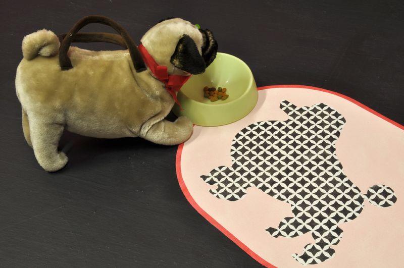 3 stencilled dog mat