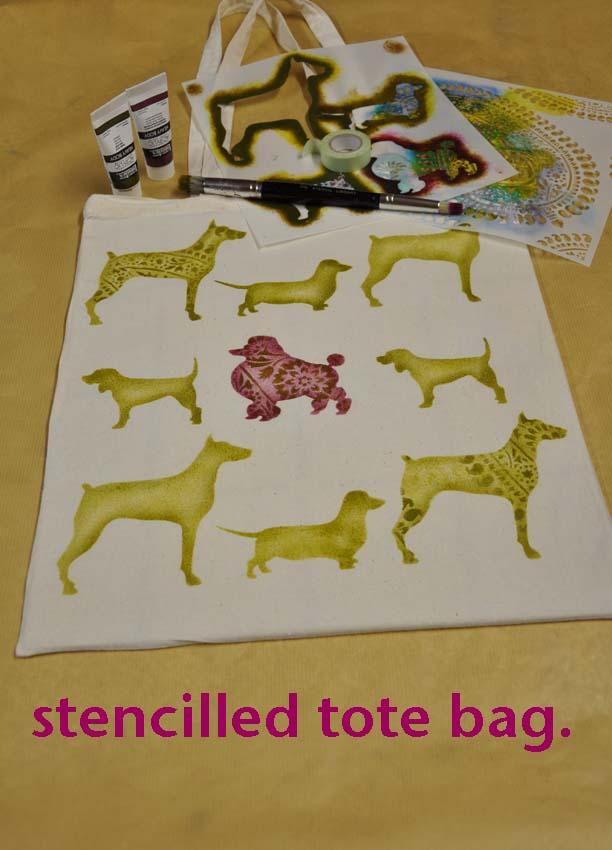 5 stencilled dog tote bag 103