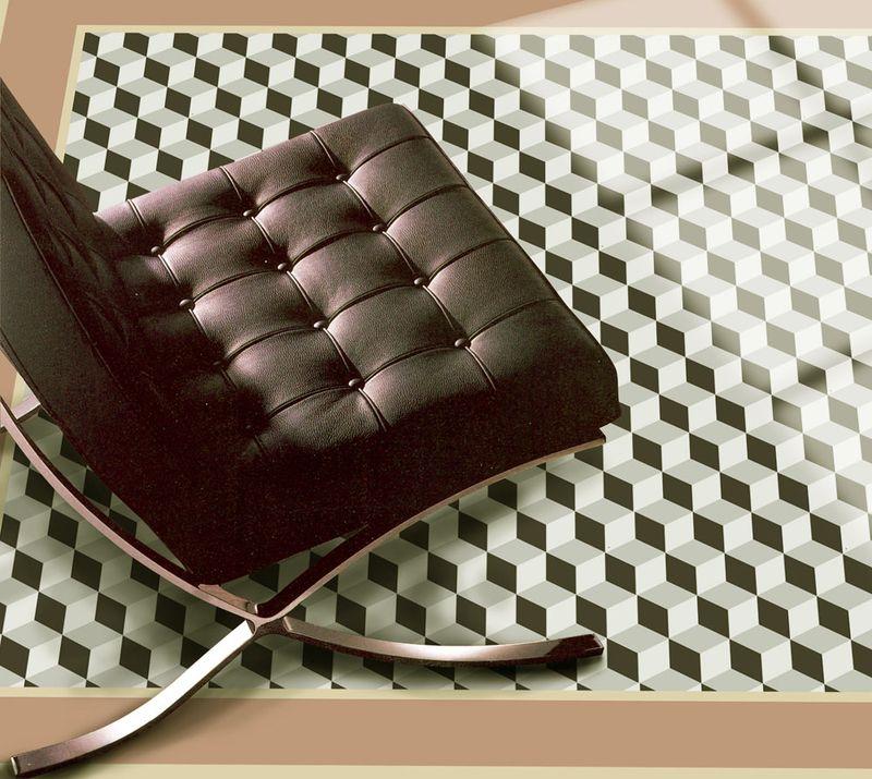 4 stencilled cubes floor cloth