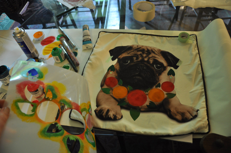 4th stage stencilling pug cushion66