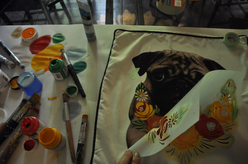 Stencilled pug cushion second layer