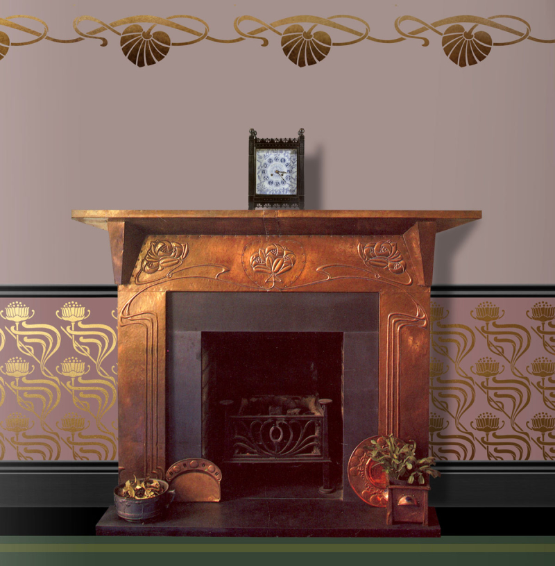 Art nouveau stencils with copper fireplace