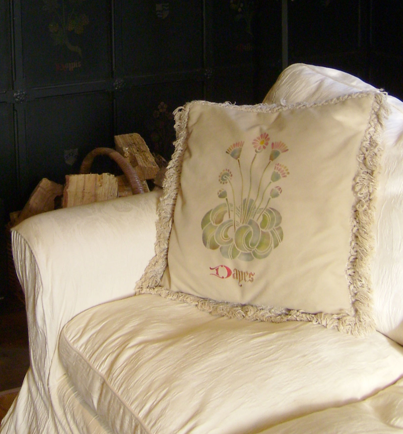 Stencilled cushion tudor flower GMT from the stencil library uk