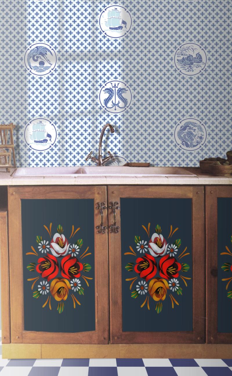 BW16 Delft Tiles Stencil Library