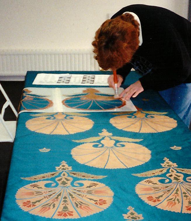 Stencilling palmette fabric72