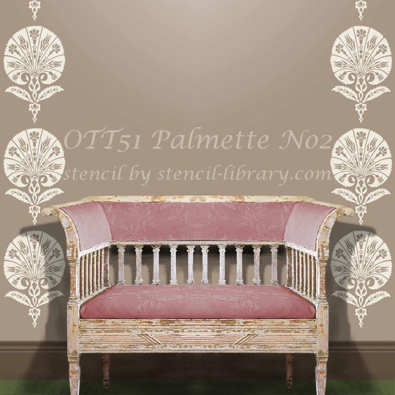 Ott51 palmette stencil -library sq txt