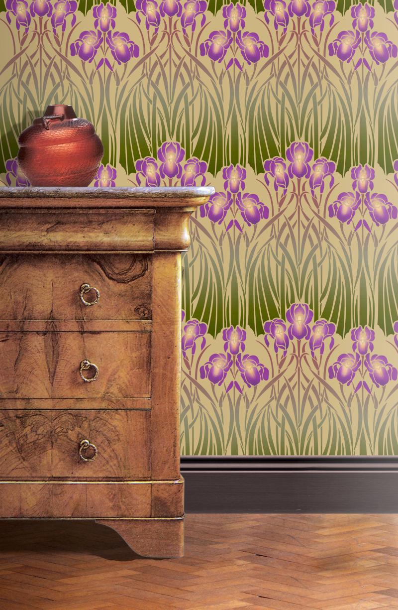 De234 Iris Repeat Stencil Library