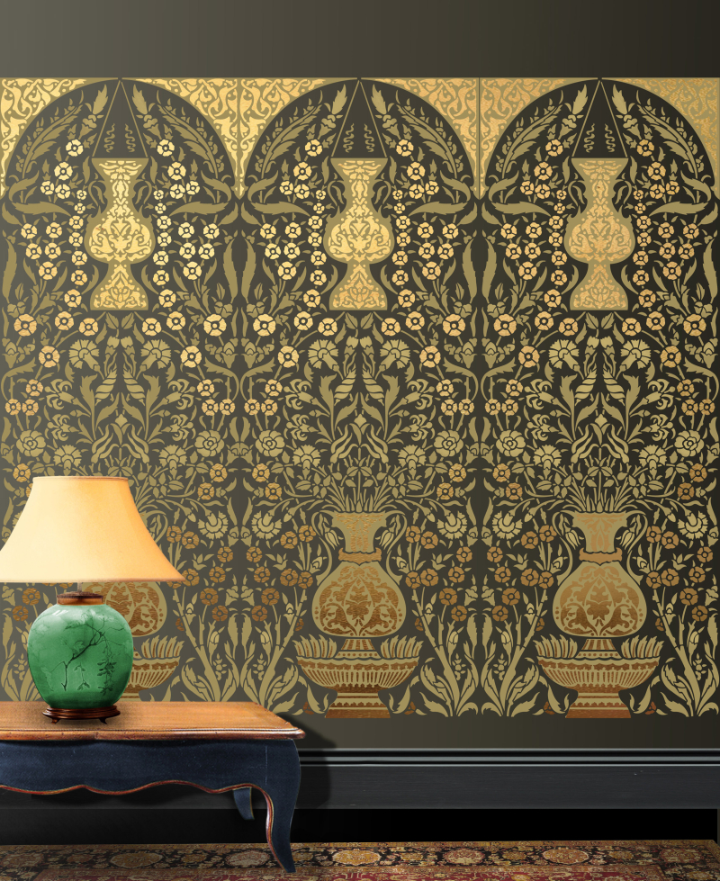 OTT50 Panel No4 Gold & Green Colorway Stencil Library