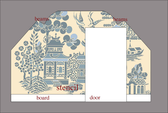 Attic willow pattern stencil wallC
