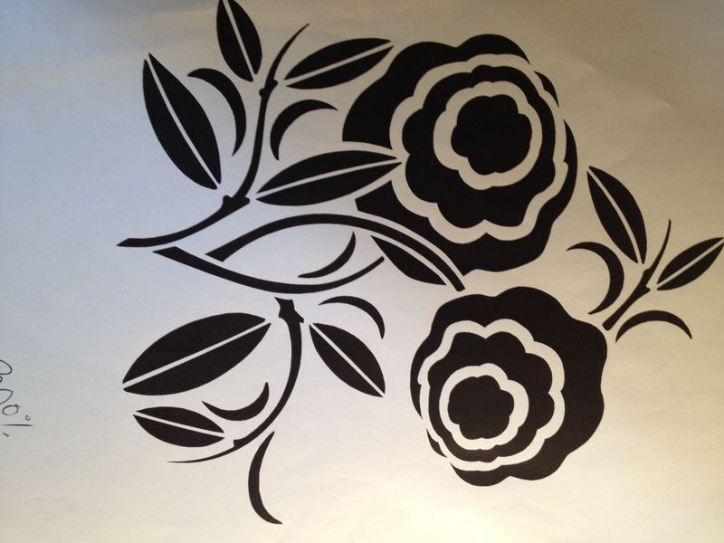 Art deco flower stencil