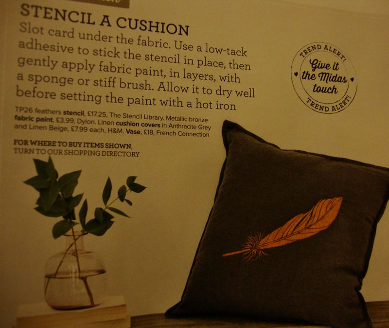 Feather stencil ideal home