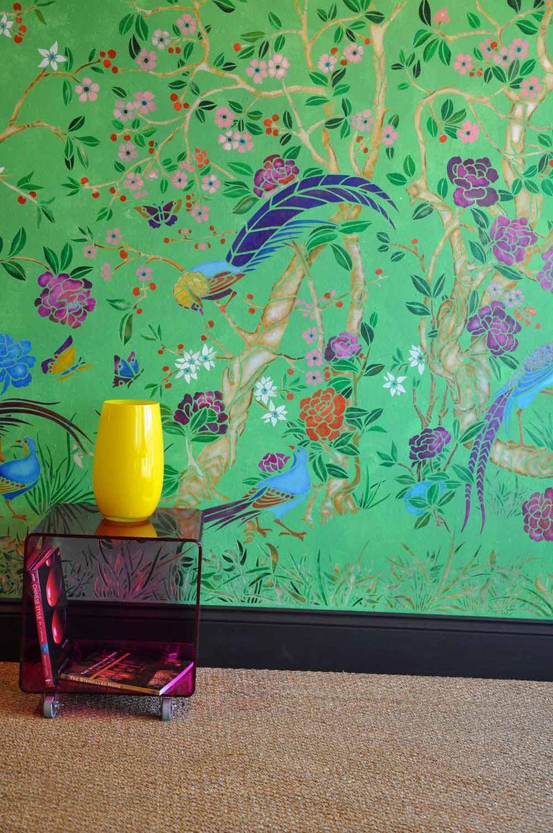 Green chinoiserie stencil lr