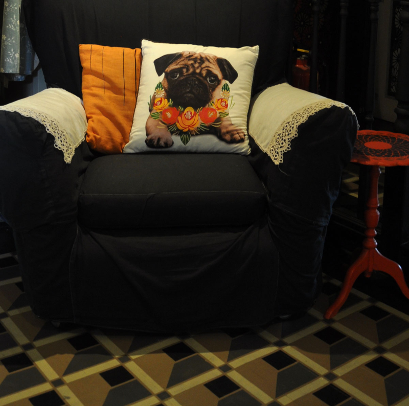 Stencilled pug on armchair89