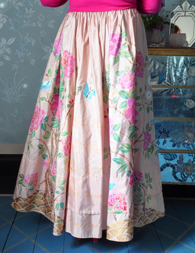 Stencilled silk skirt lr