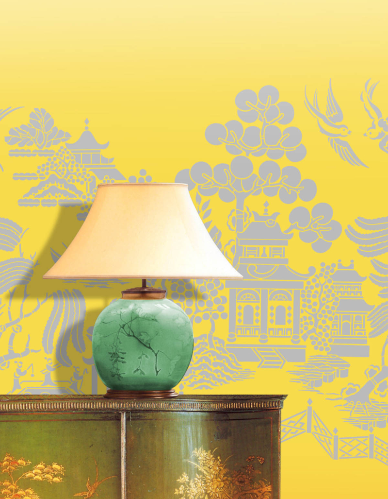 Willow pattern stencil-library CH32 chinoiserie stencil