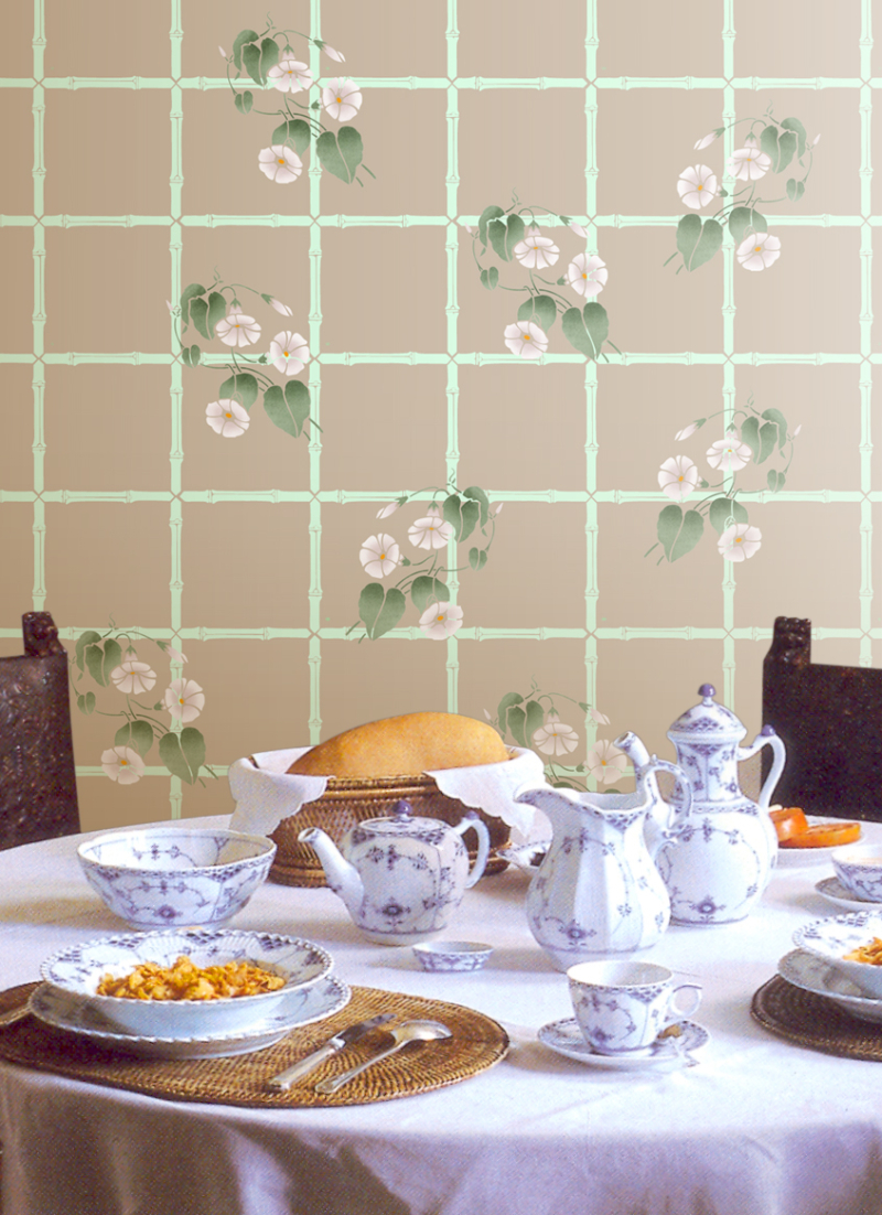 CH55 Bamboo Trellis 140 Morning Glory Stencil Library