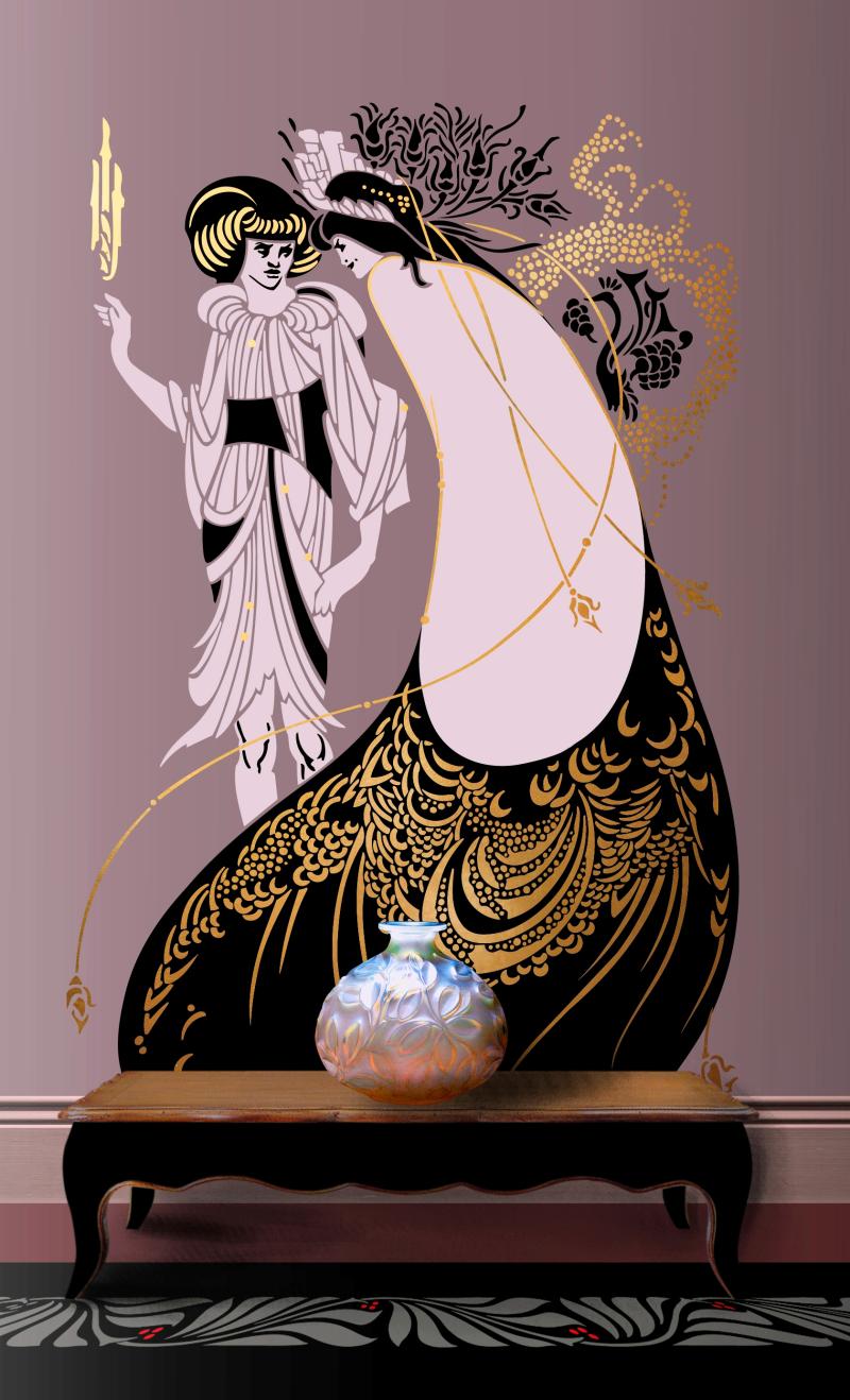 DE158 Peacock Skirt Stencil Library