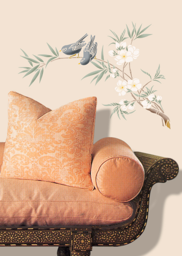 JA114 Birds & Blossom Stencil Library
