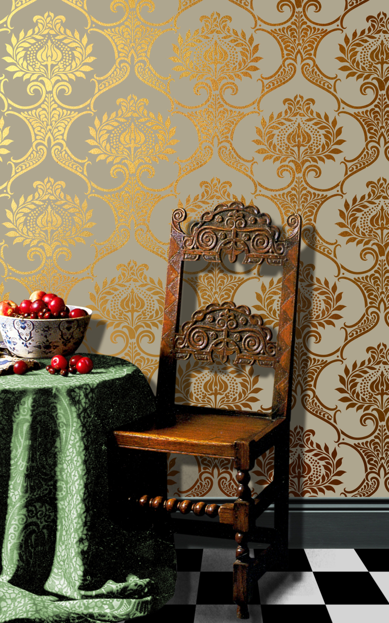 VN109 Damask Repeat Stencil Library