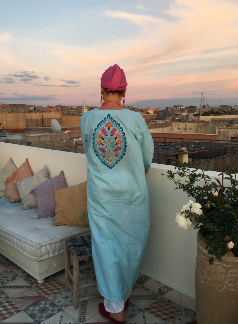 Back of Helen's caftan Maison 28