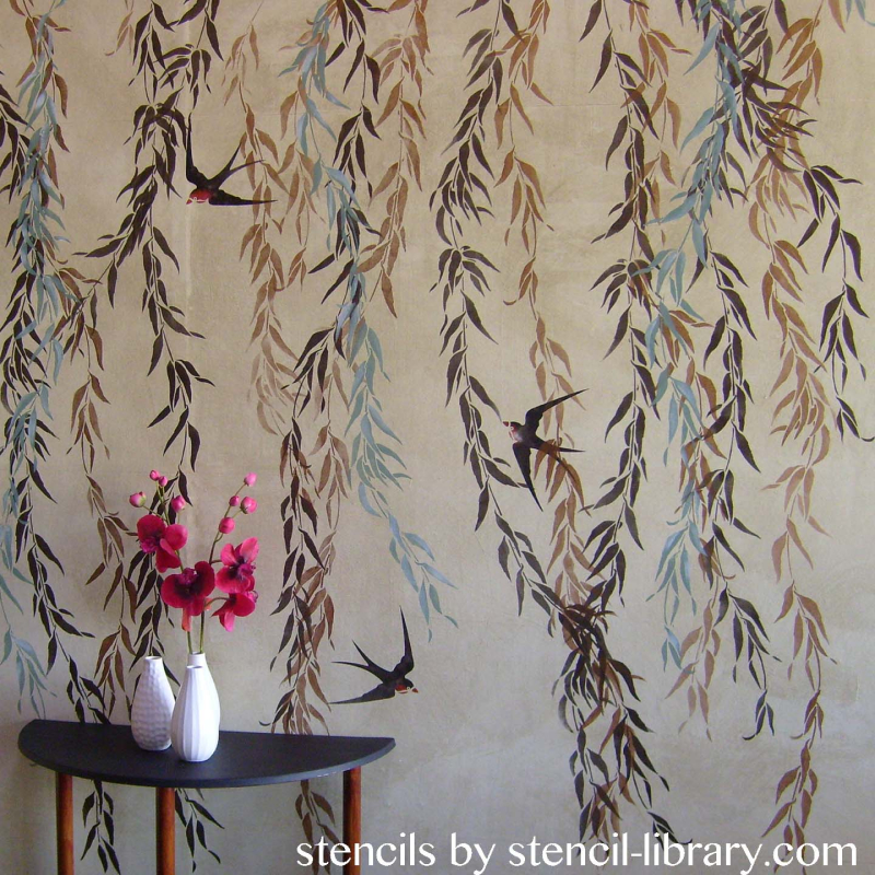 Willow and swallow stencil-library copy