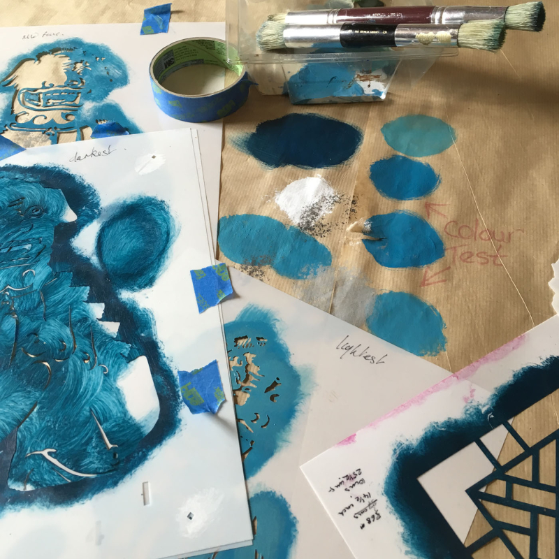 Foo dog stencil-library colour test.01