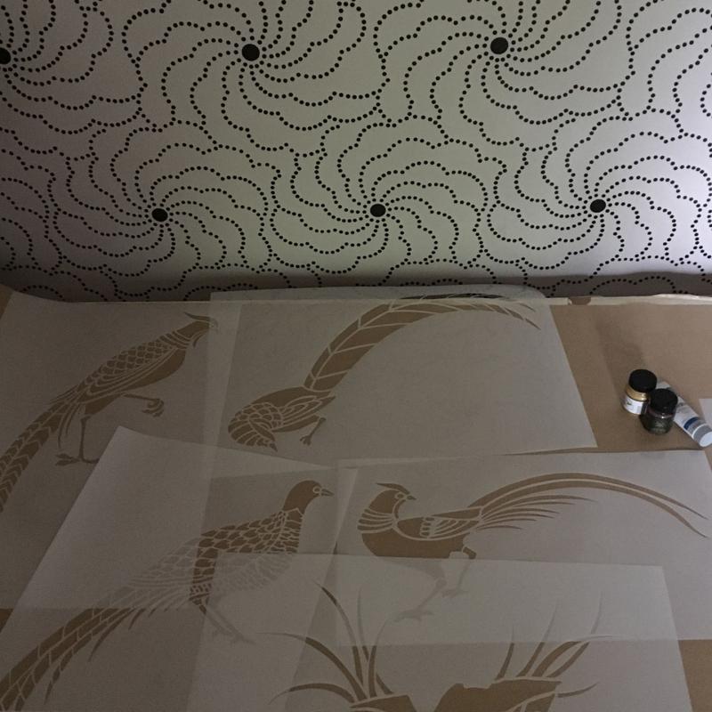 Pheasant stencil-library. 690