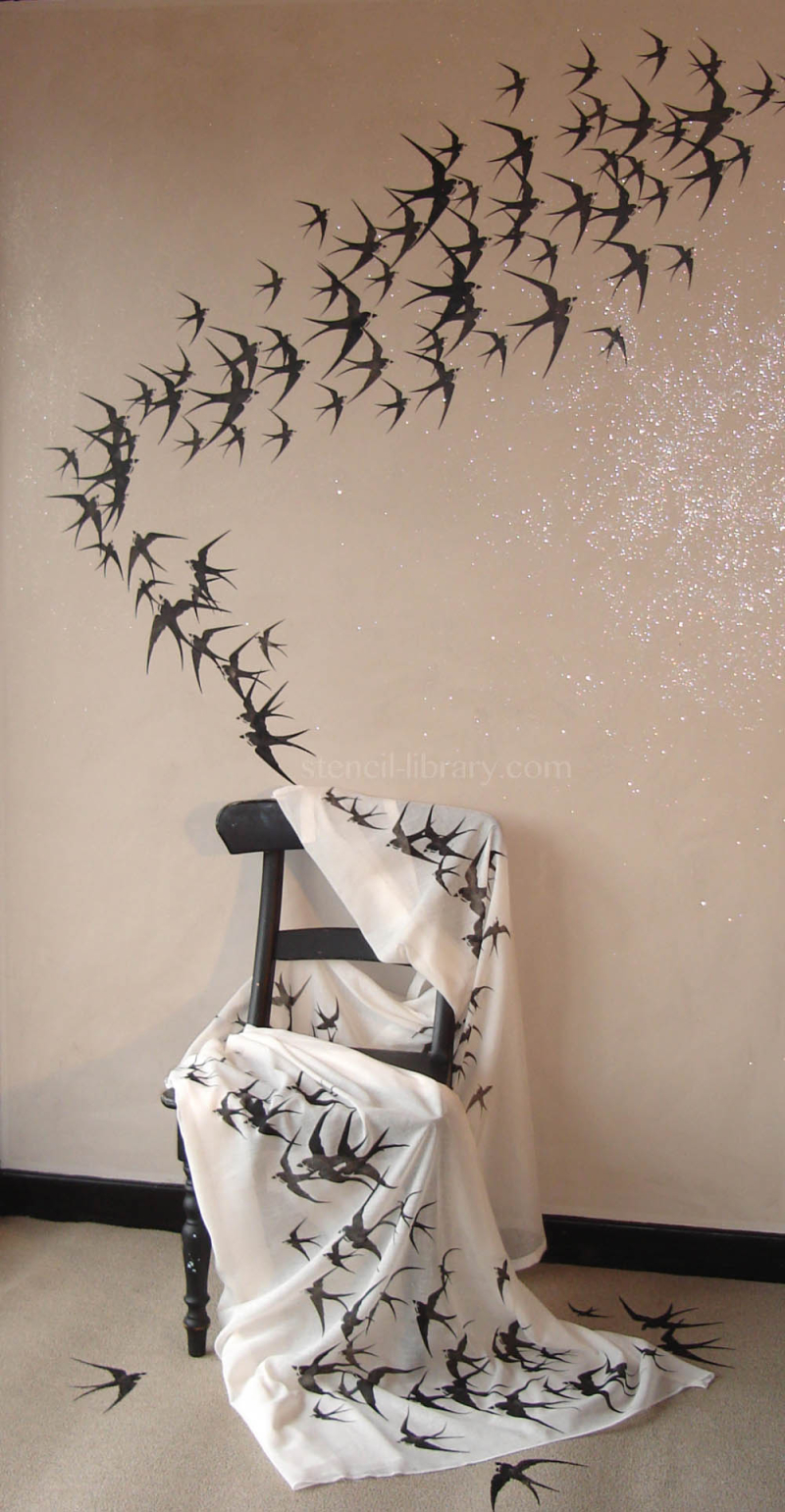 Y-10 3 Swallow stencil-library