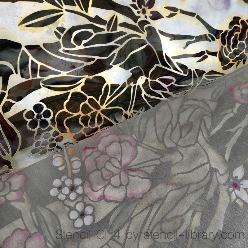 CH4 stencil on silk sq