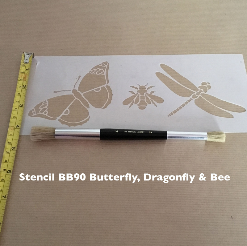 BB90 butterfly dragonfly & bee stencil