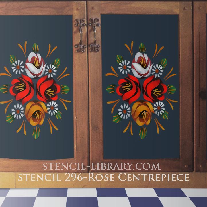Stencil 296-rose-centrepiece canart art Stencil Library txt