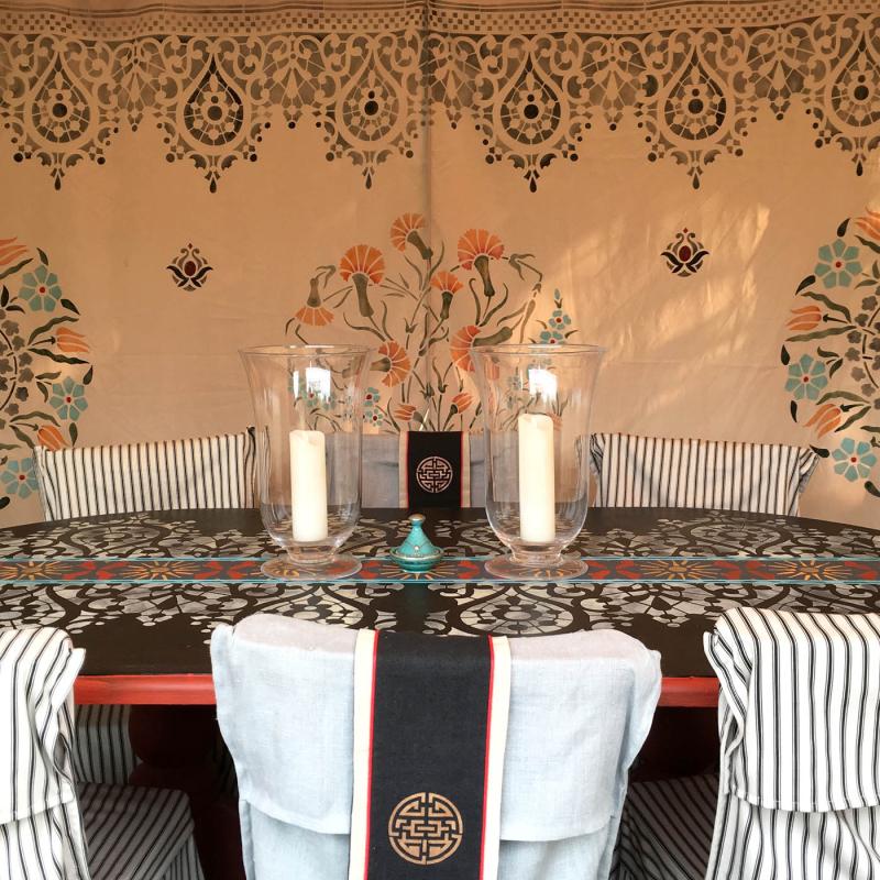 Stencilled tent interior stencil-library